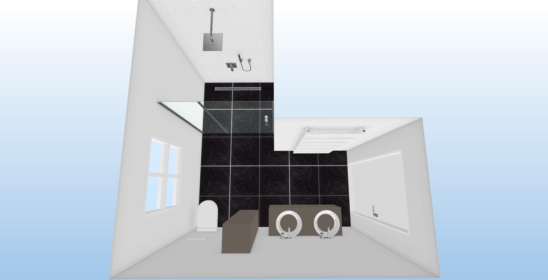 l-vormig badkamer Boven aanzicht