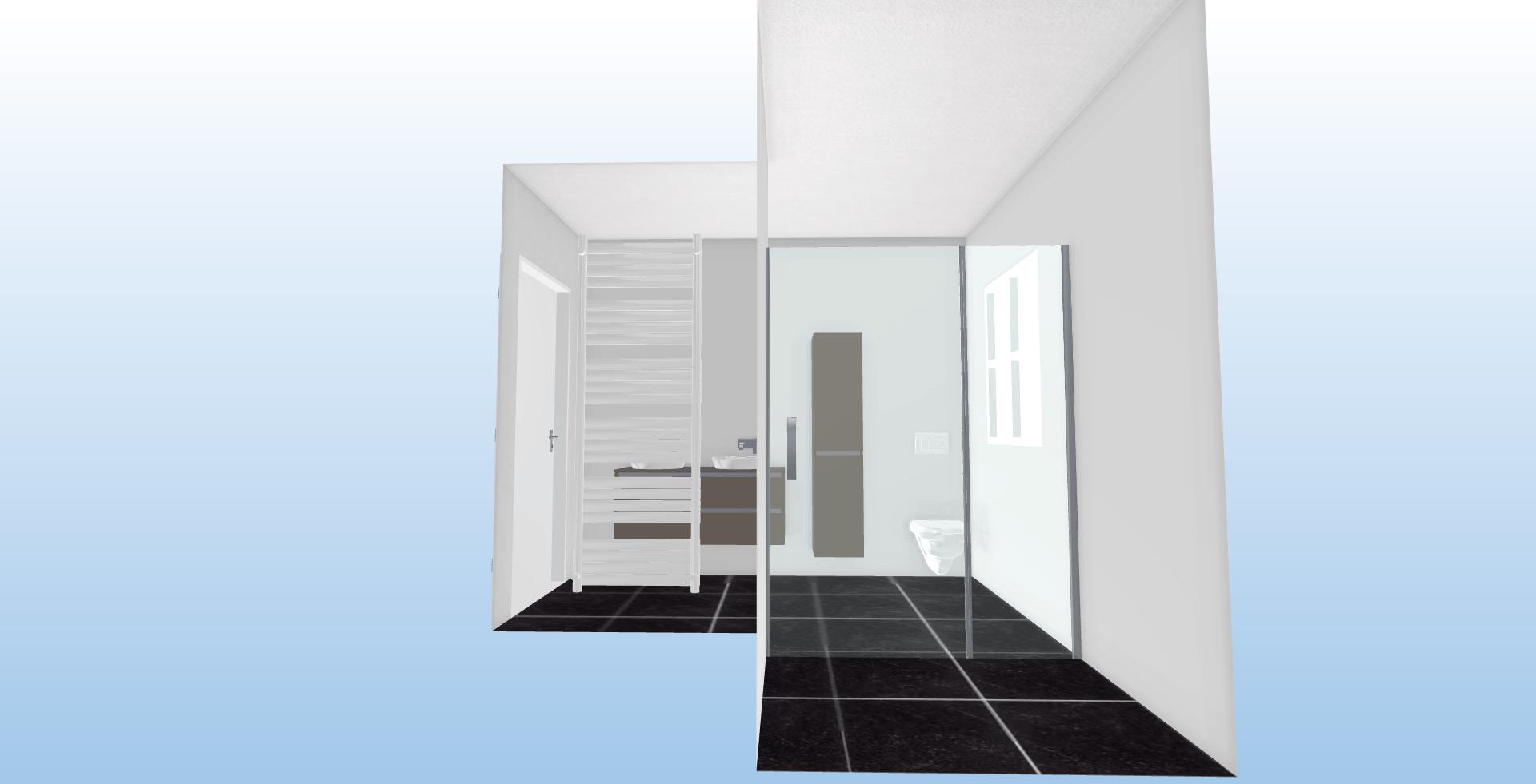 l-vormig badkamer Voor Aanzicht