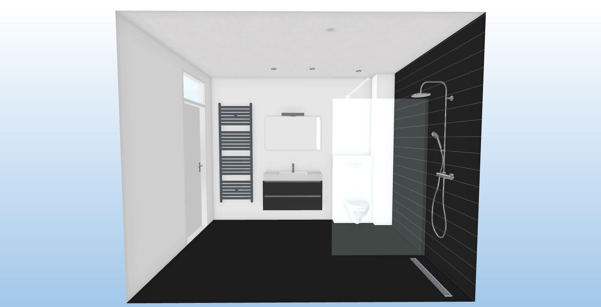 rechthoekige badkamer bovenaanzicht