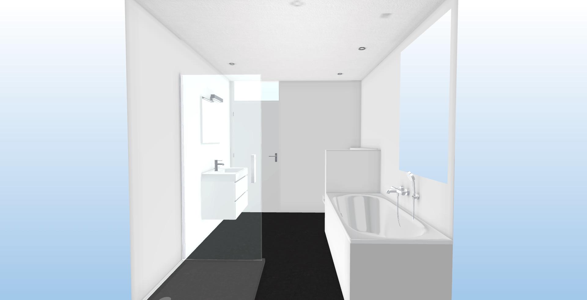 vierkante badkamer vooranzicht