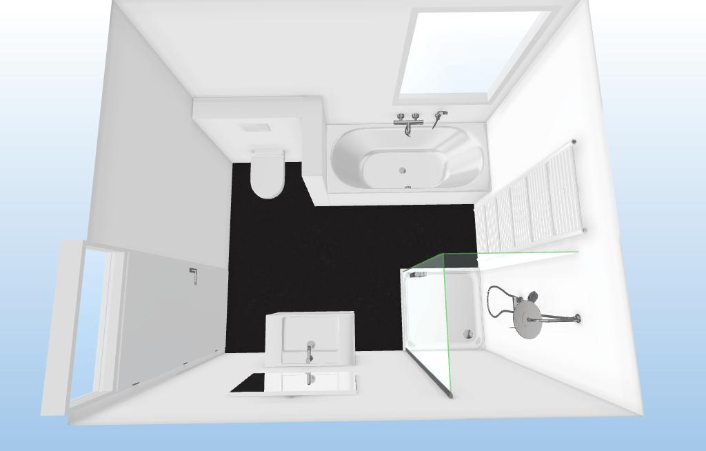 vierkante badkamer bovenaanzicht